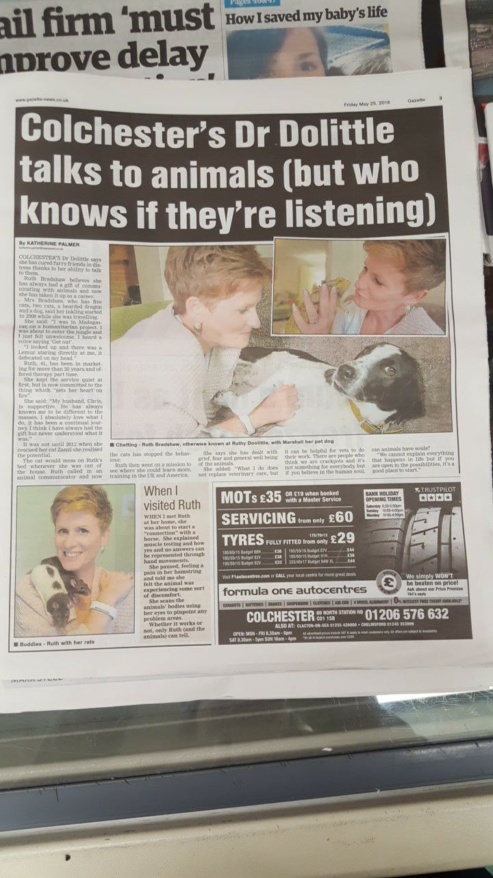 Colchesters Dr Doolittle, Ruthy Doolittle in the Colchester Gazette