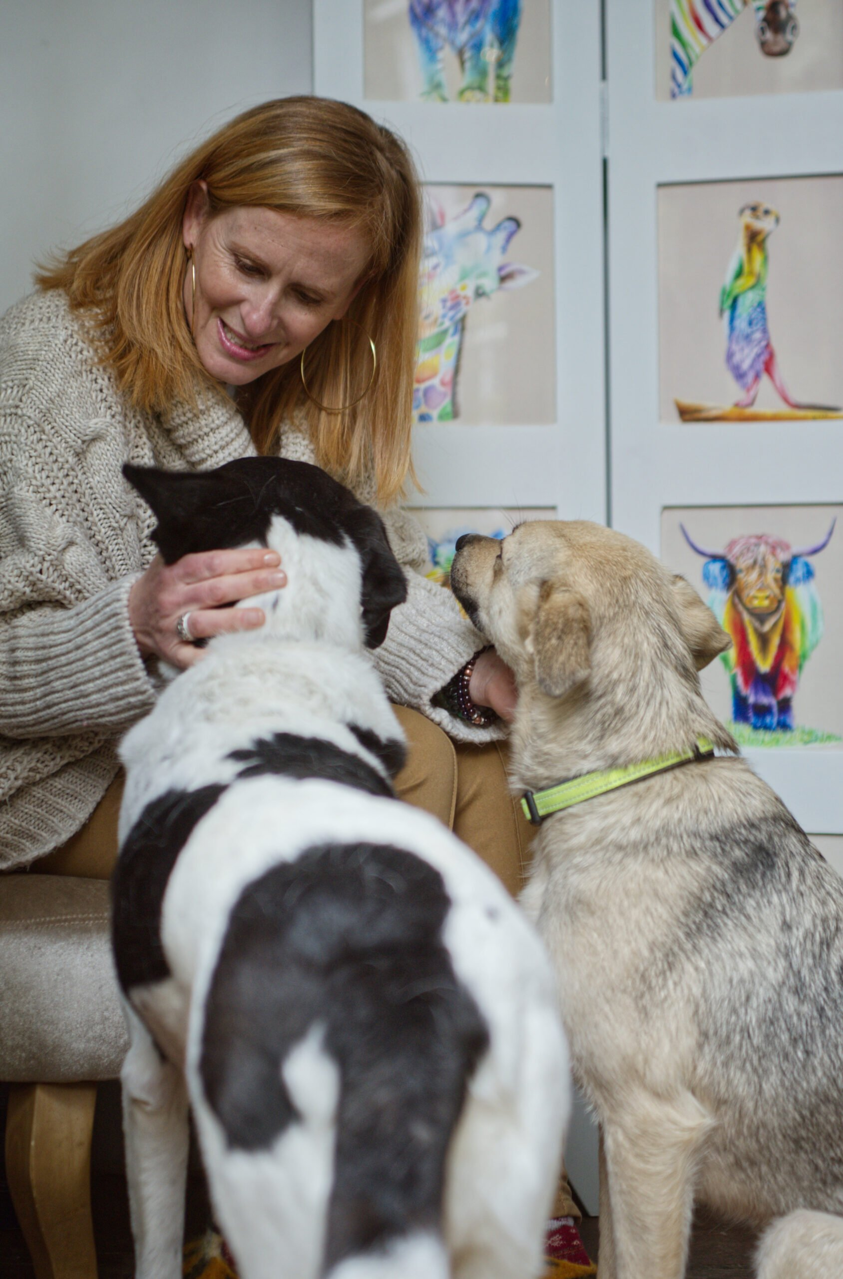 Ruth Doolittle and her two rescue dogs, Buttercup and Marshall